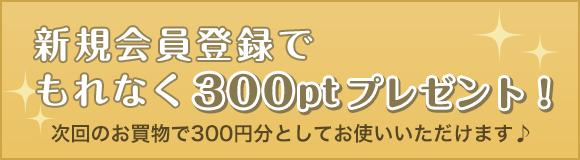 新規会員登録でもれなく300ptプレゼント!次回のお買物で300円分としてお使いいただけます♪